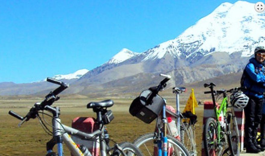 Beautiful white mountain on the way to Lhasa EBC Biking Tour.