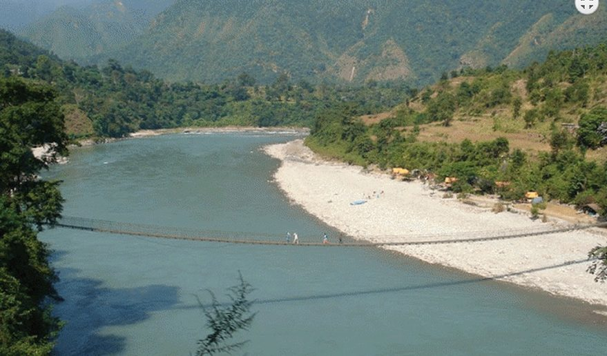 Budi Gandaki River Fishing | Bridge above Trishuli River near Benighat.