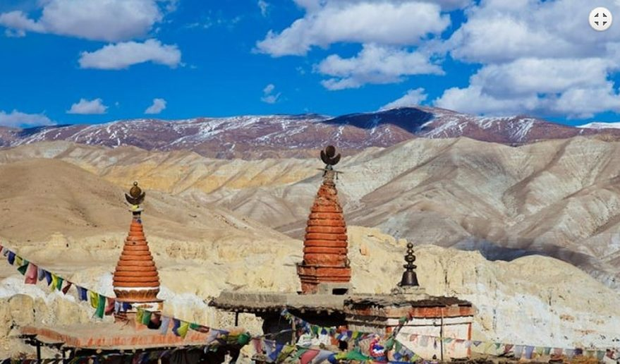 Mustang Helicopter Tour | Buddhist Chhorten near from walled city Lo Manthang.