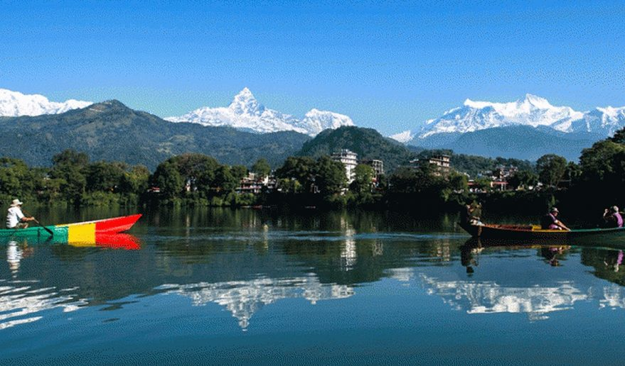 Honeymoon Tour Nepal | Fewa Lake Pokhara reflecting Annapurna Massif.