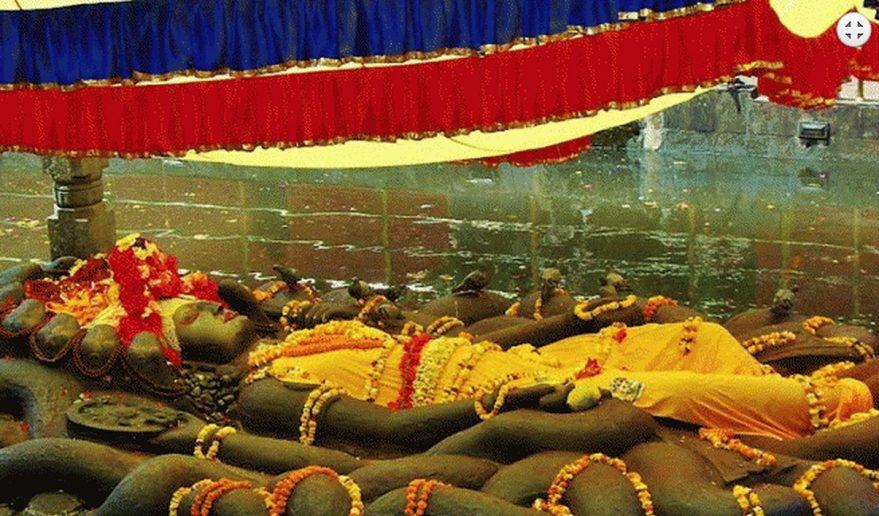 Nepal Pilgrimage Tour   Lord Vishnu at Budhanilkantha.