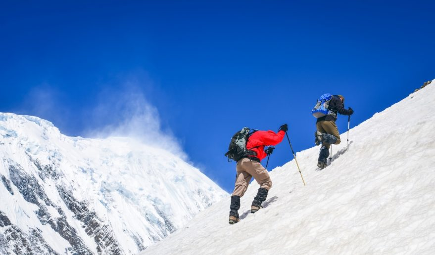 Two Mountain Trekkers on Steep