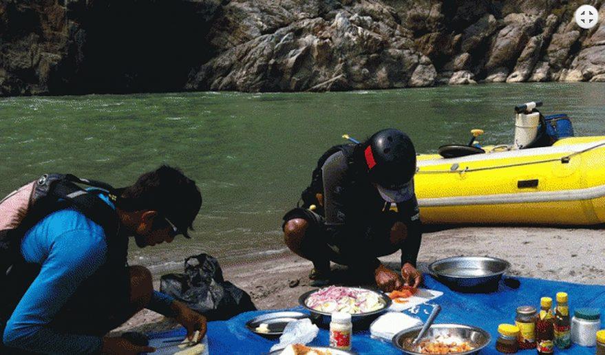 Our hard working team preparing meal at Tamur River beach site.