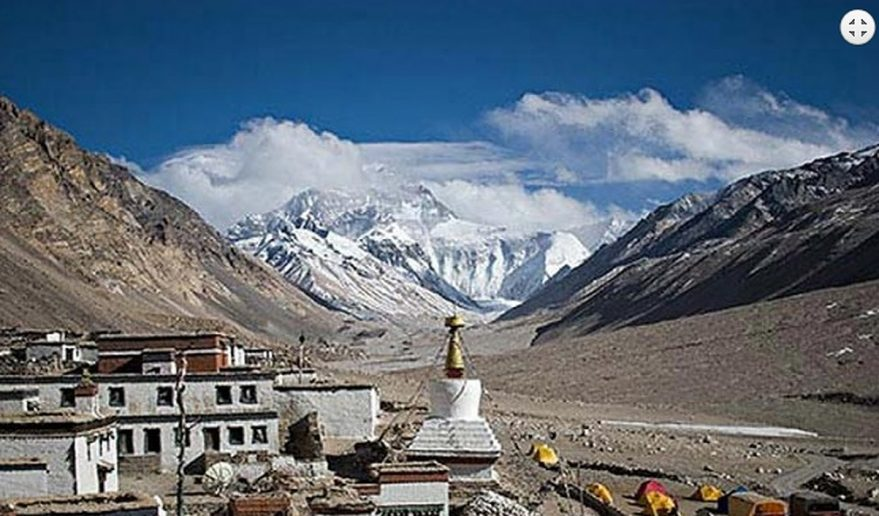 Rongbuk Monastery with view of Mt Everest range.