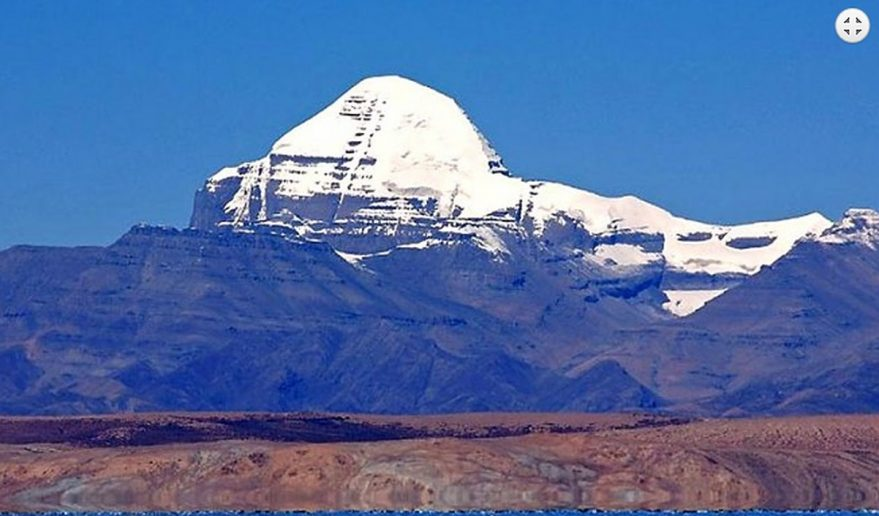Snow-capped Mount Kailash and Lake Manasarovar.