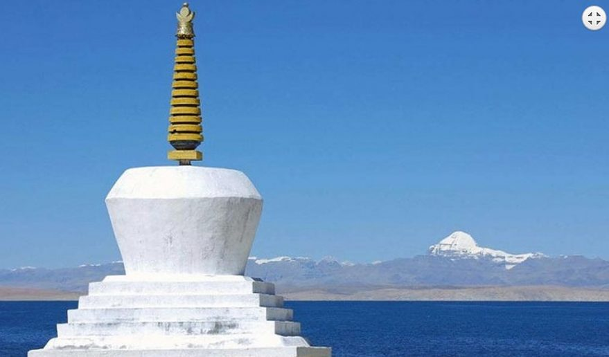 Tantalizing view of Mt. Kailash, Manasarovar Lake and Buddhist Chhorten.
