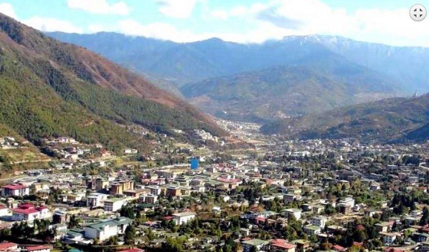 Journey to Druk Yul   Thimpu wide angle view.