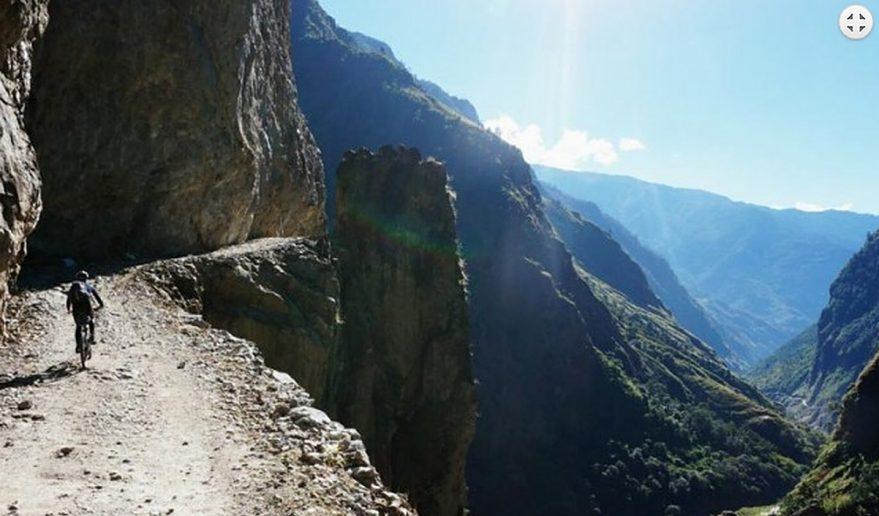 Nepal Annapurna Circuit Mountain Biking   Trail from Chame.