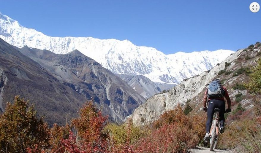 view of Annapurna II, III and IV from Annapurna Trail.