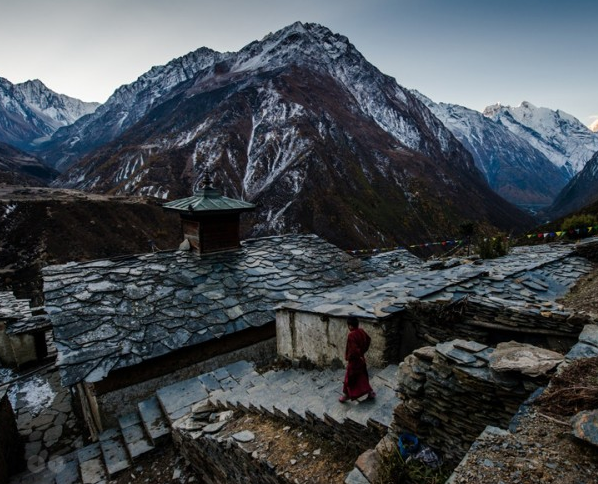 At Mu Gompa - A Tibetan Monastery | Manaslu Circuit Tsum Valley Trek
