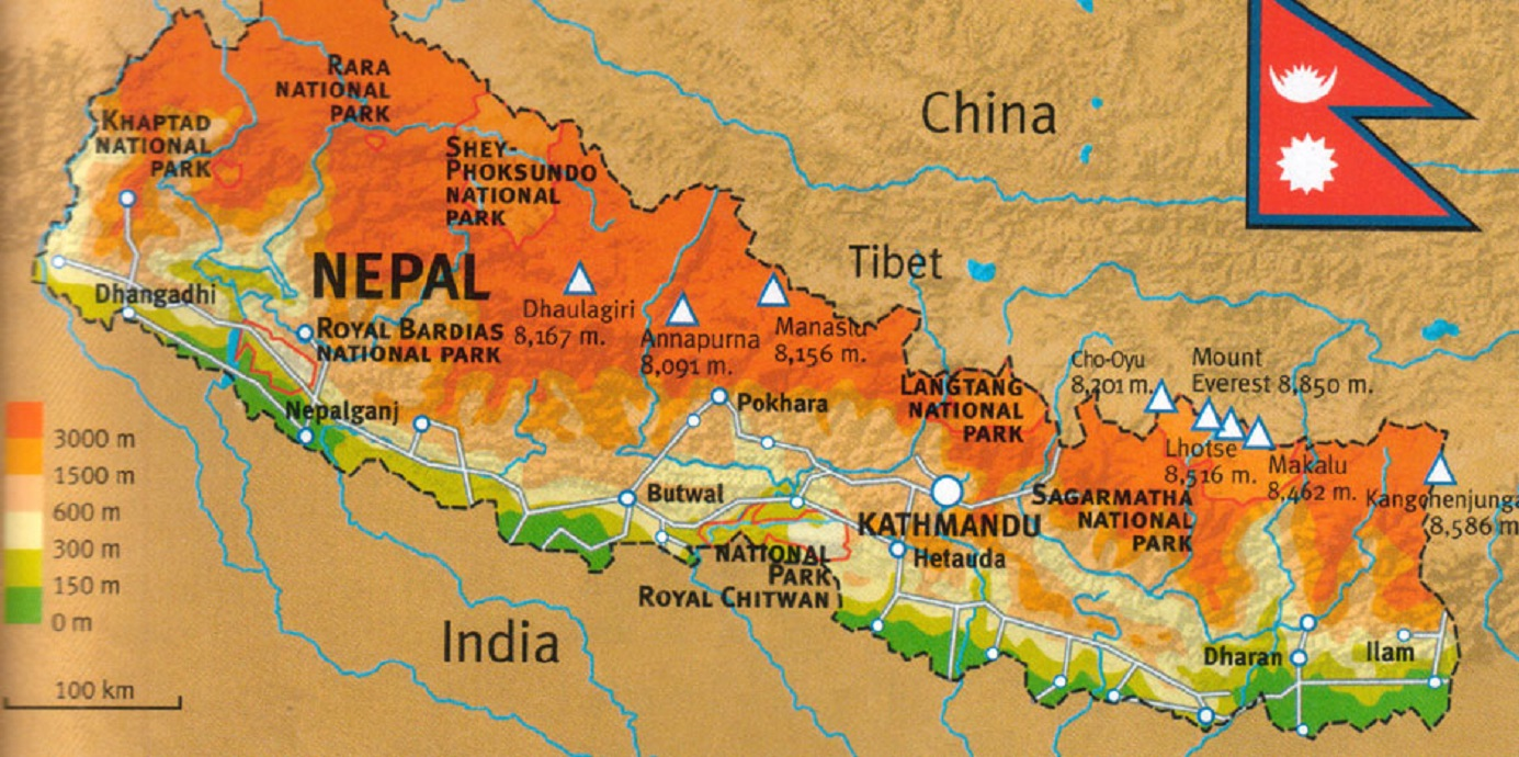 Where is Nepal located in world map.